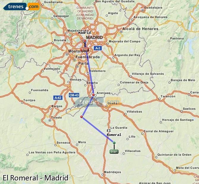 Enlarge map Trains El Romeral to Madrid