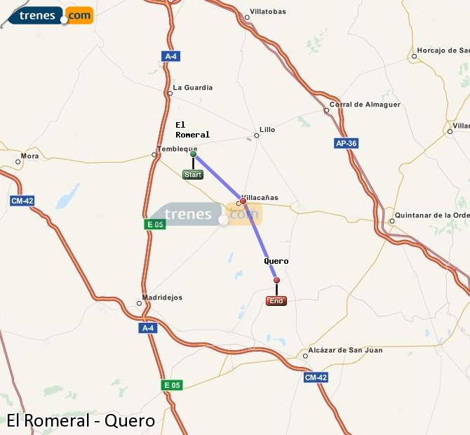Enlarge map Trains El Romeral to Quero