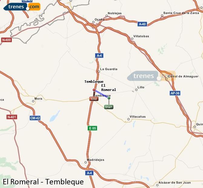 Ingrandisci la mappa Treni El Romeral Tembleque