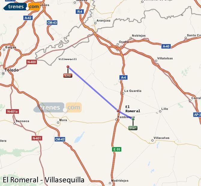 Karte vergrößern Züge El Romeral Villasequilla