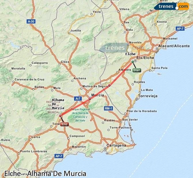 Ingrandisci la mappa Treni Elche Alhama De Murcia