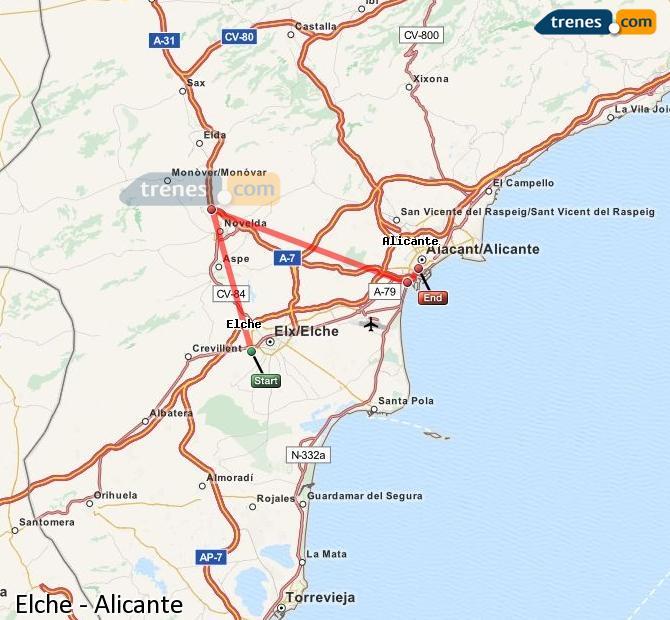 Enlarge map Trains Elche to Alicante