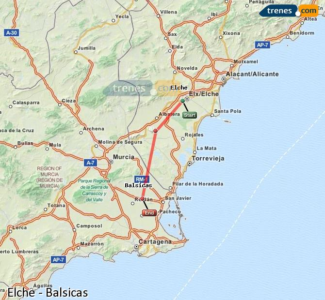 Enlarge map Trains Elche to Balsicas