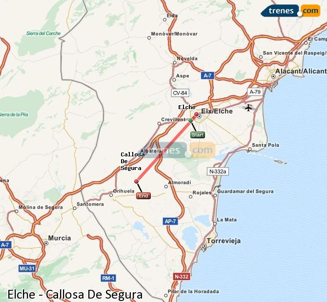 Enlarge map Trains Elche to Callosa De Segura