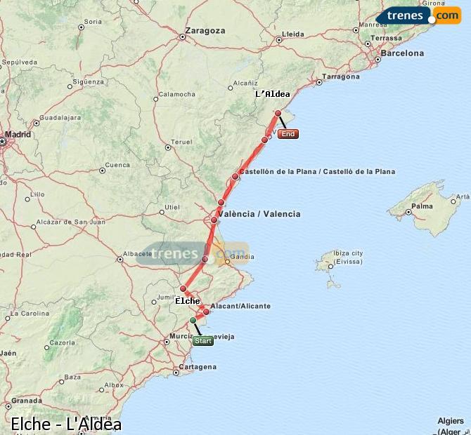 Ingrandisci la mappa Treni Elche L'Aldea