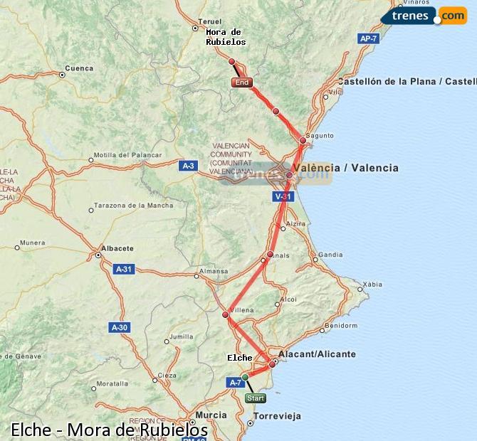 Enlarge map Trains Elche to Mora de Rubielos