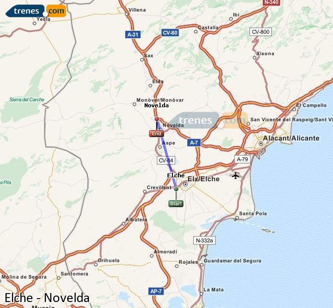 Ampliar mapa Comboios Elche Novelda