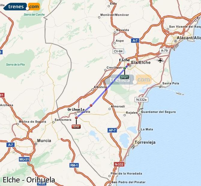 Enlarge map Trains Elche to Orihuela