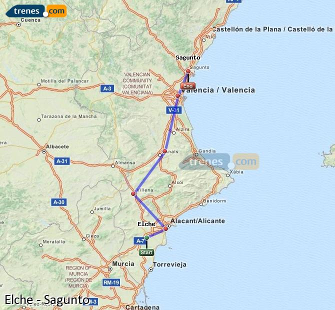 Enlarge map Trains Elche to Sagunto