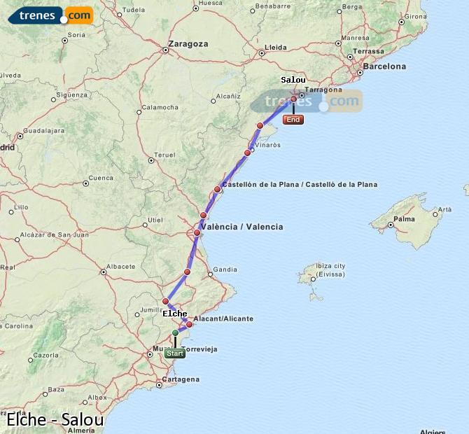 Enlarge map Trains Elche to Salou