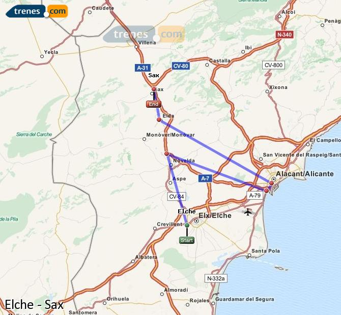 Enlarge map Trains Elche to Sax