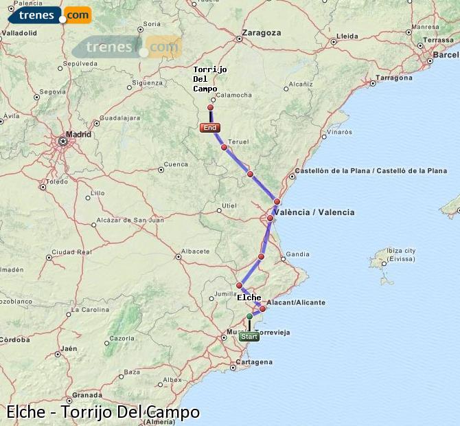 Agrandir la carte Trains Elche Torrijo Del Campo