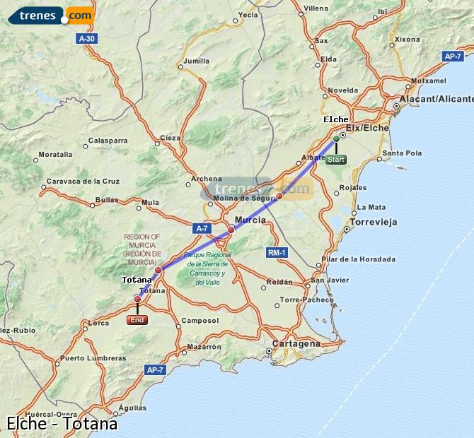 Enlarge map Trains Elche to Totana