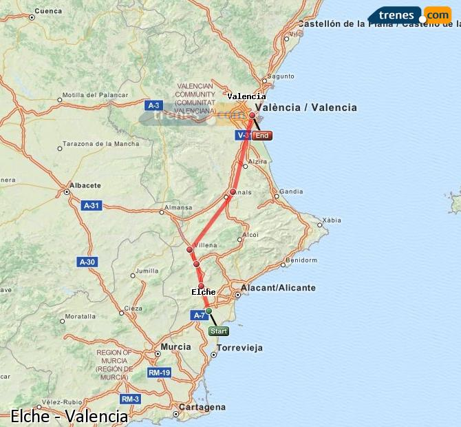 Enlarge map Trains Elche to Valencia