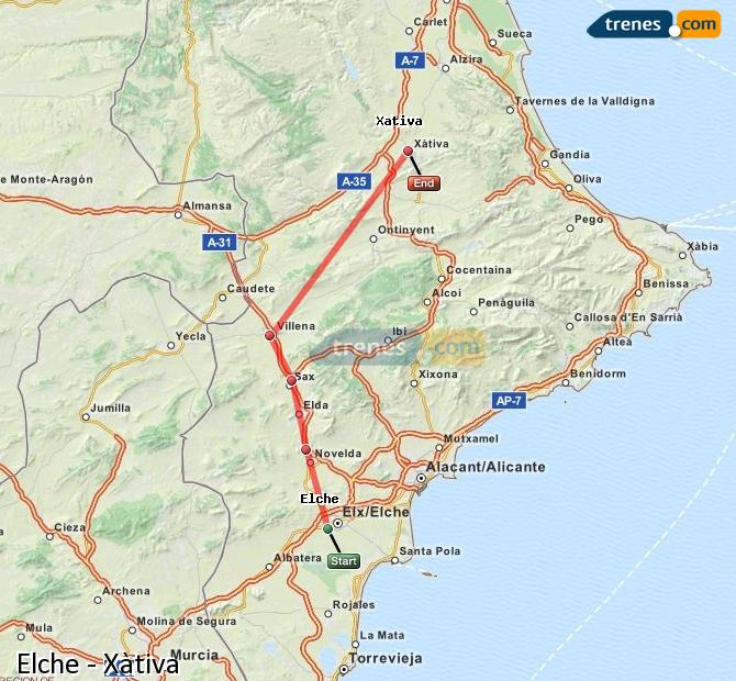 Enlarge map Trains Elche to Xativa