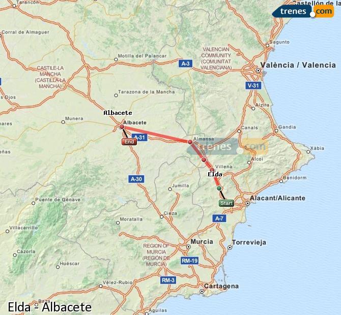Ingrandisci la mappa Treni Elda Albacete