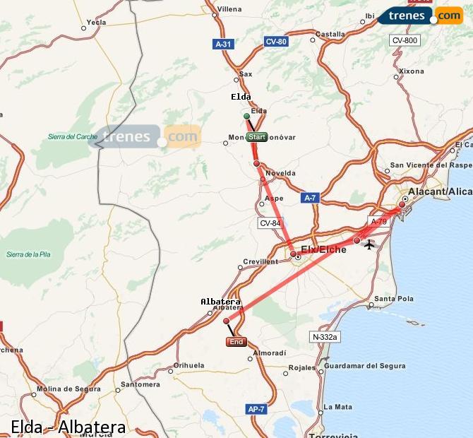 Ampliar mapa Comboios Elda Albatera