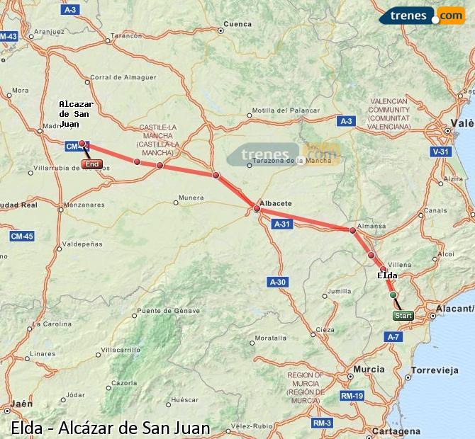 Agrandir la carte Trains Elda Alcázar de San Juan