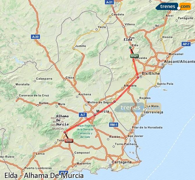Karte vergrößern Züge Elda Alhama De Murcia