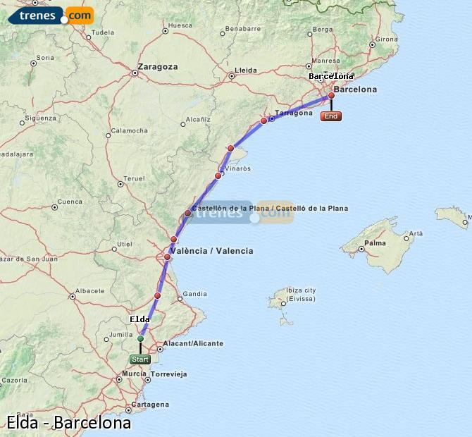 Agrandir la carte Trains Elda Barcelone