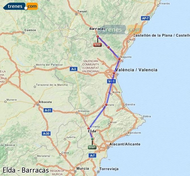 Agrandir la carte Trains Elda Barracas
