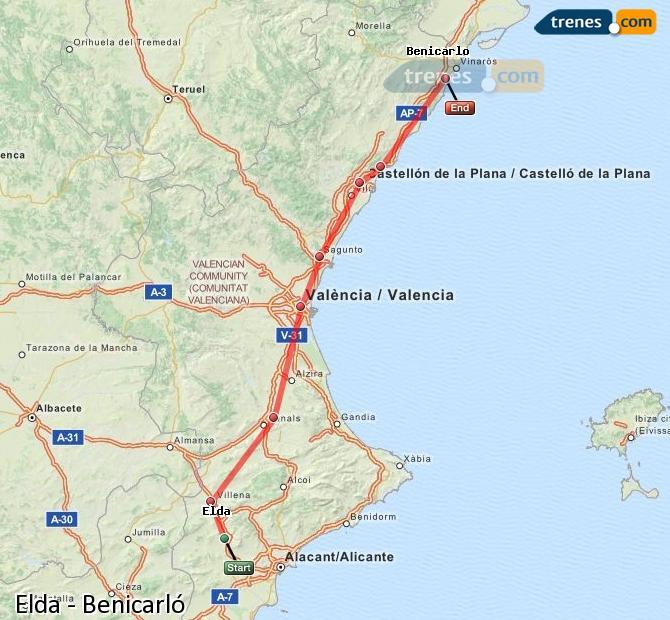 Ampliar mapa Comboios Elda Benicarló