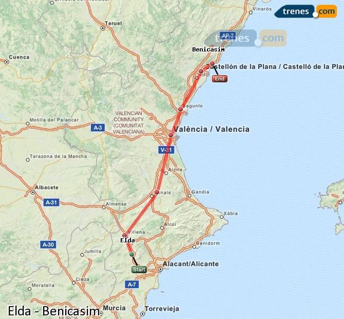 Enlarge map Trains Elda to Benicasim