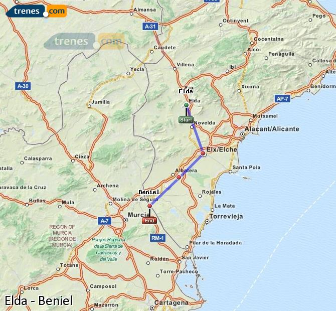 Enlarge map Trains Elda to Beniel