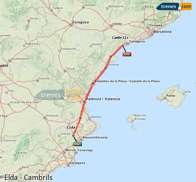 Ampliar mapa Comboios Elda Cambrils