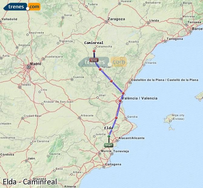 Karte vergrößern Züge Elda Caminreal