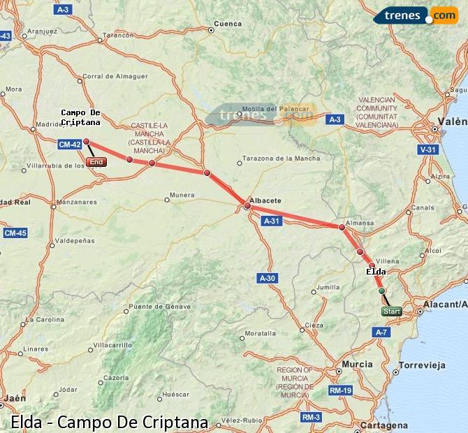 Ingrandisci la mappa Treni Elda Campo De Criptana