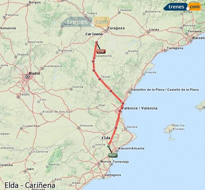 Ampliar mapa Comboios Elda Cariñena