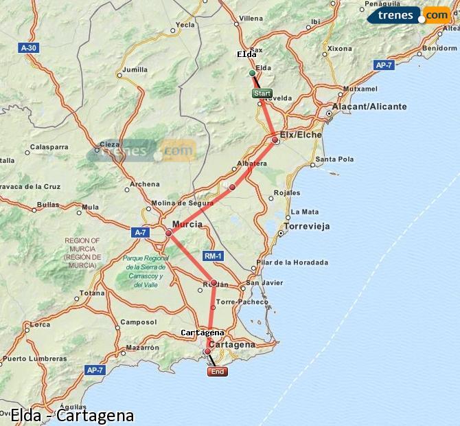 Agrandir la carte Trains Elda Cartagena