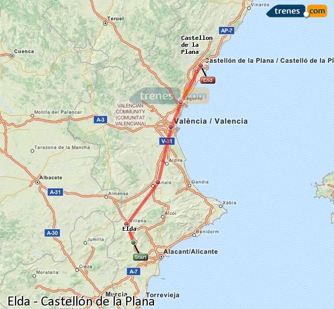 Agrandir la carte Trains Elda Castellón