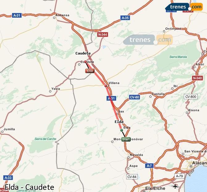 Karte vergrößern Züge Elda Caudete