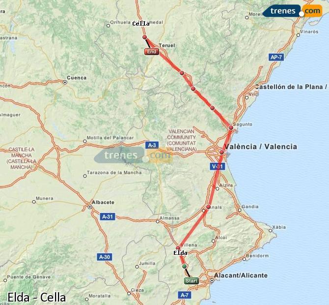 Karte vergrößern Züge Elda Cella