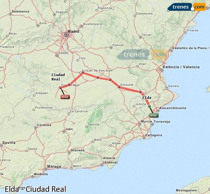 Karte vergrößern Züge Elda Ciudad Real