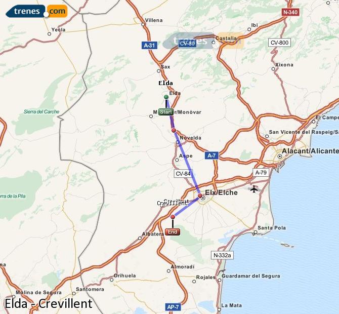 Ampliar mapa Trenes Elda Crevillent