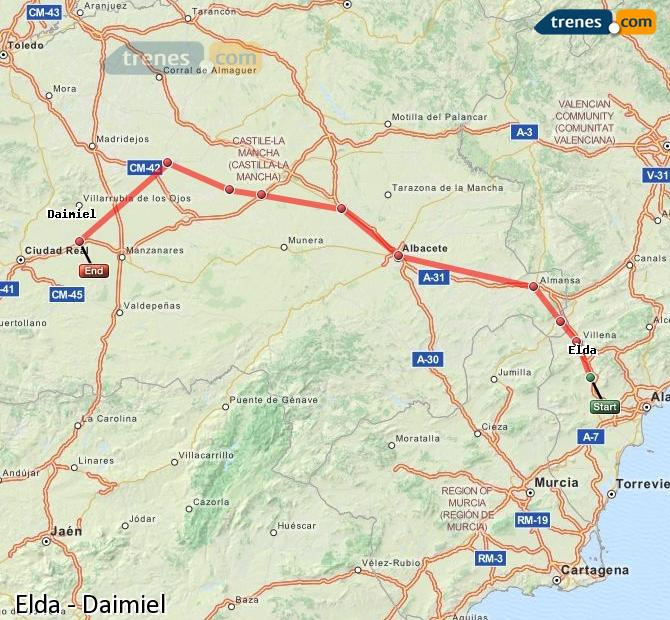 Ampliar mapa Comboios Elda Daimiel