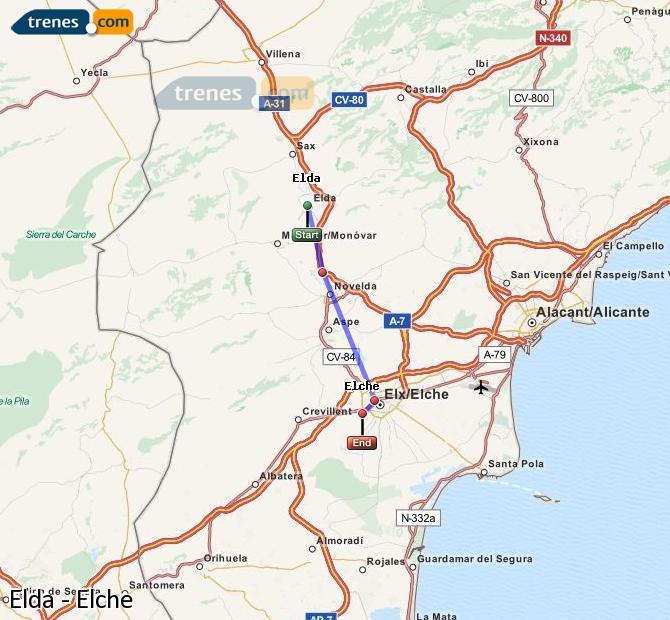 Ingrandisci la mappa Treni Elda Elche