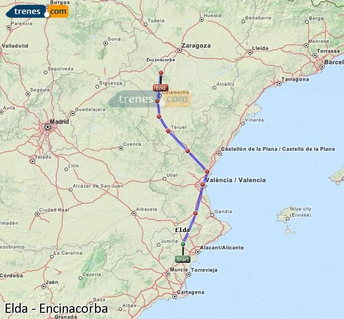 Ampliar mapa Trenes Elda Encinacorba