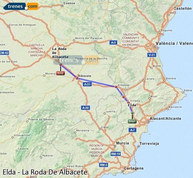 Enlarge map Trains Elda to La Roda De Albacete