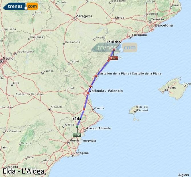 Karte vergrößern Züge Elda L'Aldea