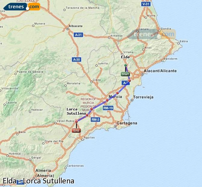 Ingrandisci la mappa Treni Elda Lorca Sutullena