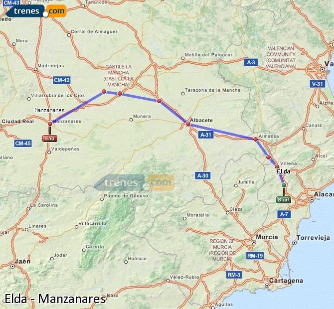Ampliar mapa Comboios Elda Manzanares