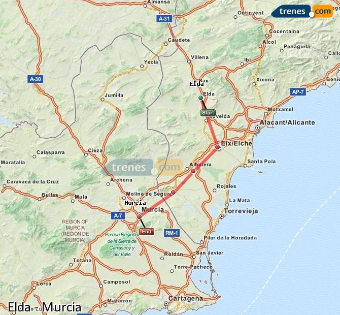 Ampliar mapa Comboios Elda Murcia