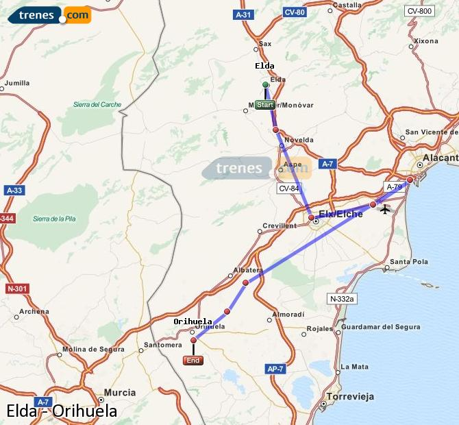 Ingrandisci la mappa Treni Elda Orihuela