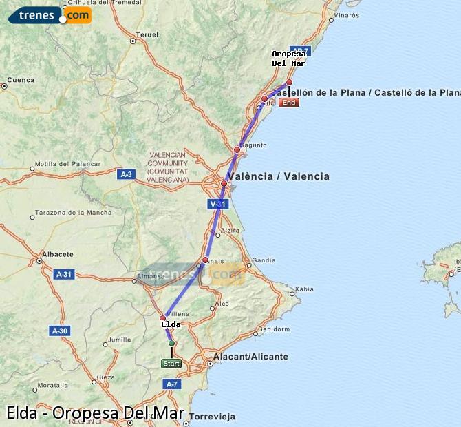 Ampliar mapa Trenes Elda Oropesa Del Mar