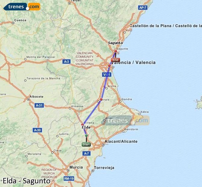 Agrandir la carte Trains Elda Sagunto