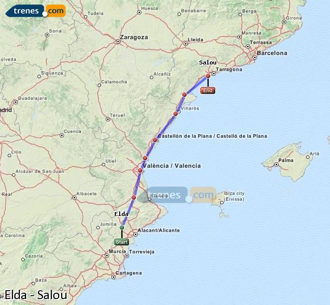 Karte vergrößern Züge Elda Salou